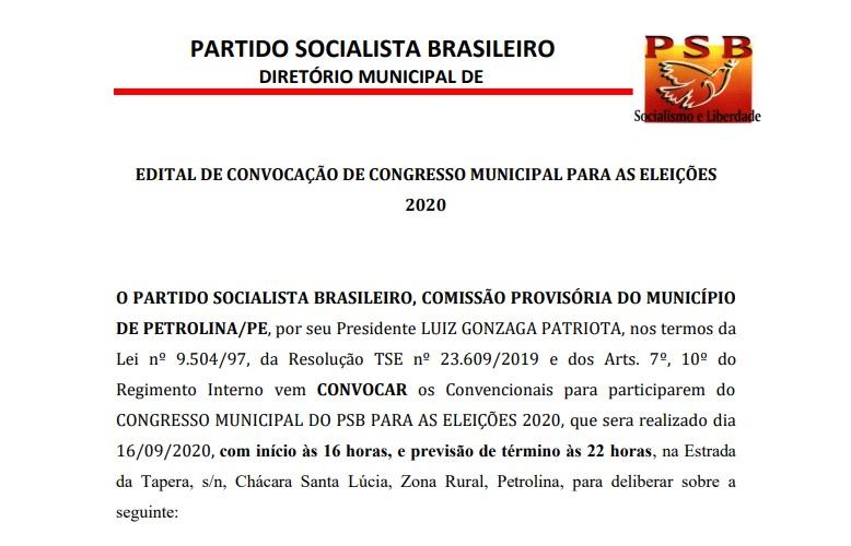 EDITAL DE CONVOCAÇÃO DE CONGRESSO MUNICIPAL PARA AS ELEIÇÕES 2020 – PETROLINA