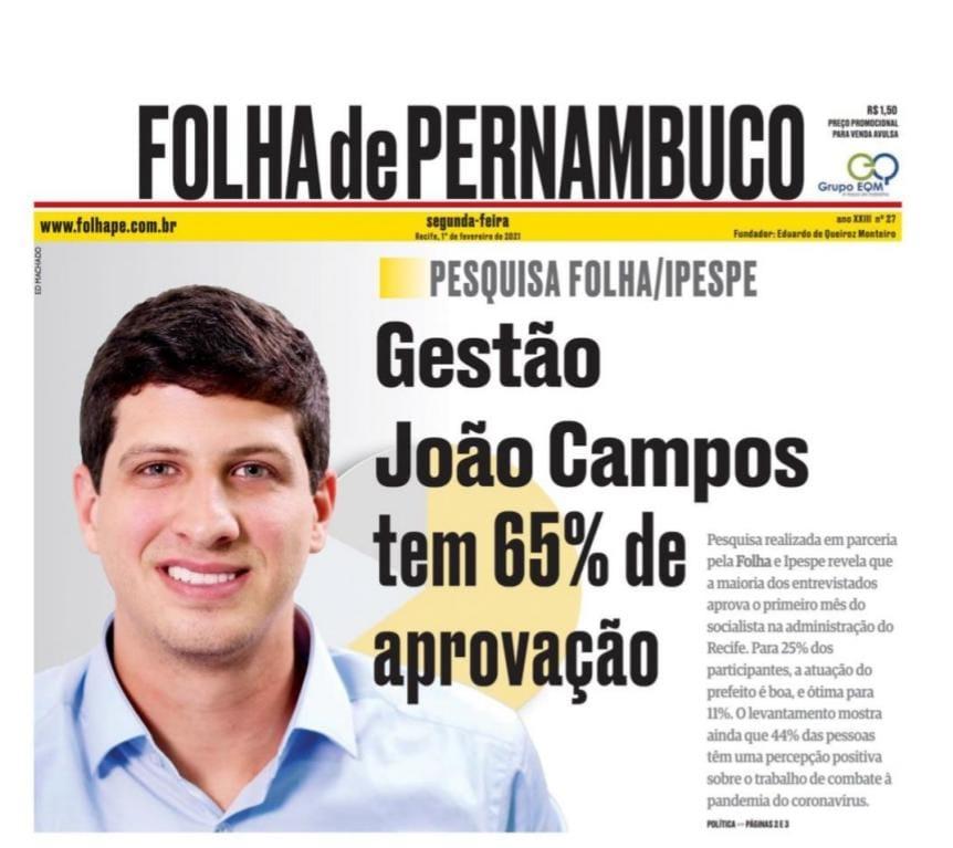 João Campos é aprovado por 65% dos recifenses